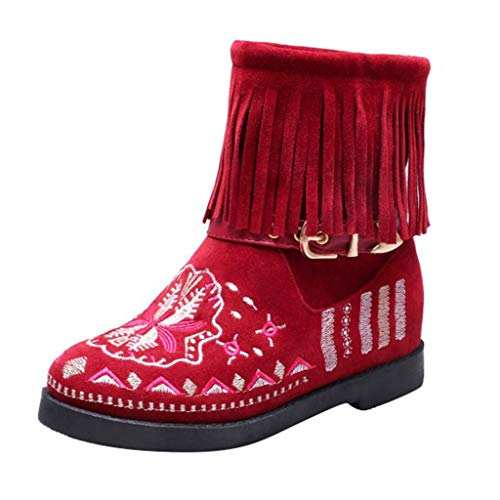 Best Bargain AgrinTol Fringed Boot Lady Flat Boots Casual Printing Short Boot Large Size Suede Ankle...