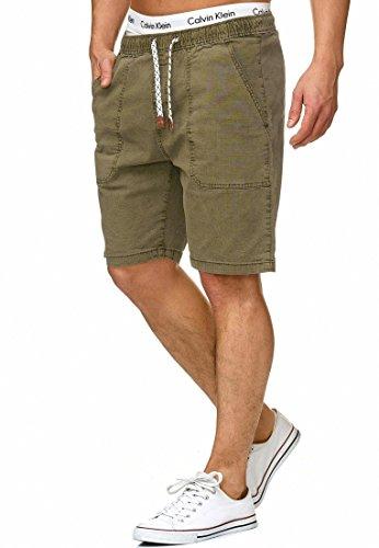 Indicode Herren Stoufville Chino Shorts mit 3 Taschen und Kordel aus 98% Baumwolle | Kurze Hose Regular Fit Bermuda Stretch Herrenshorts Short Men Pants Sommerhose für Männer Army L