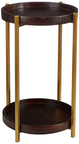 Amazon Brand - Rivet Round End/Side Table with 2 Shelves, 40 x 40 x 61 cm, Pine Wood with Walnut-Colour Lacquer/Metal