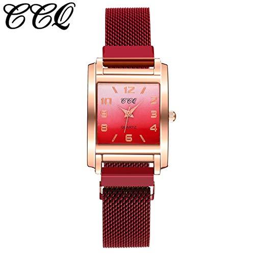 Uhr Armbanduhren Männer Damenuhren Hanseeschlanke Minimalistische Geometrische Quadratische Quarzuhr Aus Mattem Leder Mit Farbverlaufuhren Wrist Watches(B-1)