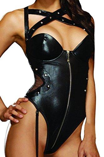 HO-Ersoka Damen String Body Kunstleder Wetlook mit Reißverschluß Nieten und Strapsbändern schwarz XS-M