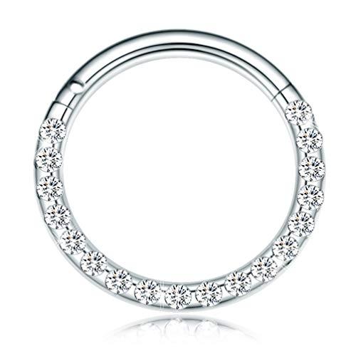 CICIMOTO 16G Hinged Nose Rings Hoop Septum Body Piercing 316L Surgical Steel Jewelry Men Women Girls (8mm, Silver)