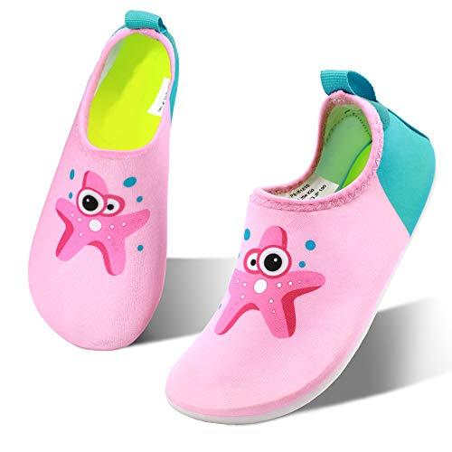 HIITAVE Toddler Water Shoes Non-Slip Quick Dry Barefoot Beach Aqua Swim Pool Socks for Girls Kids Pink/Starfish 2-3 M US Little Kid