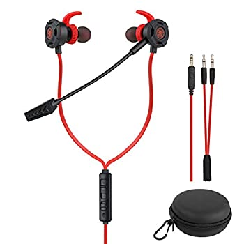 BlueFire Wired Gaming Earphone 3.5 MM E-Sport Earphone Noise Cancelling Stereo Bass Gaming Headphone with Adjustable Mic for PS4 Xbox One Laptop Cellphone PC Red