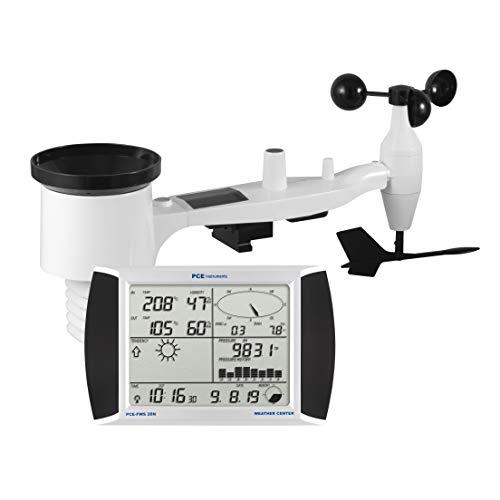PCE Instruments Funk Wetterstation PCE-FWS 20N mit Aussensensoren für Windrichtung, Windgeschwindigkeit, Temperatur, Relative Luftfeuchte, Regenmenge, USB-Schnittstelle, Analyse-Software, Solarmodul
