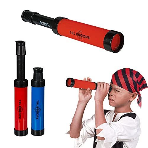 OOTB Longue Vue pour Enfant - Couleur aléatoire : Bleu ou Rouge - Jouet Mini télescope déguisement Pirate