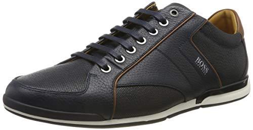 BOSS Herren Saturn Lowp Lowtop Sneakers aus genarbtem Leder mit Perforierungen Größe 41