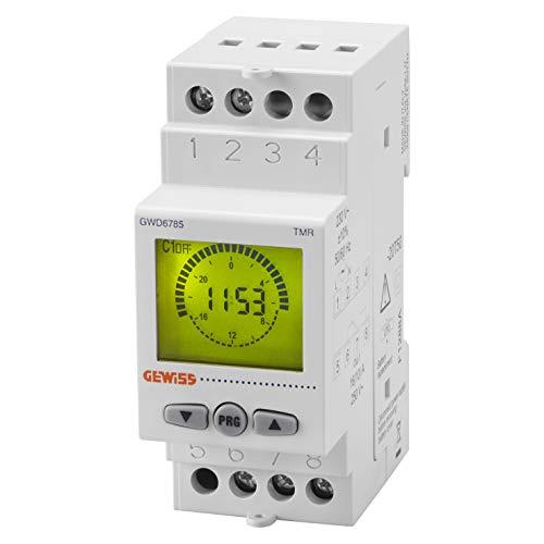 Interruptor astronómico, marca GEWISS - 1 contacto NA/NC - 16A/230Vca - 2 módulos DIN - reserva de carga 5 años - GWD6785