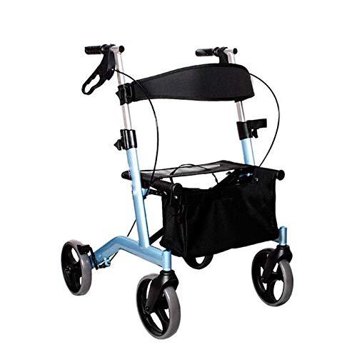 GEHHILFEAID Wandelhulp op vier wielen in aluminium zit- en winkelmandje Opvouwbare wandelaars voor Ouderen Wandelframes met remmen