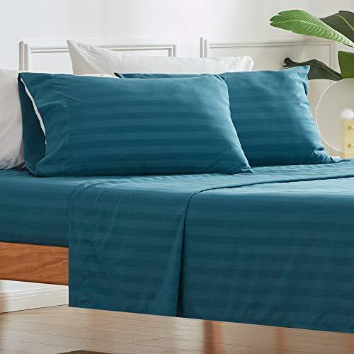SLEEP ZONE 4-teiliges gestreiftes Bettlaken-Set – Temperaturregulierung – knitterfrei, farbecht, leicht zu pflegen – luxuriöse weiche Mikrofaser-Tagesdecken-Set (Blaugrün, Voll)