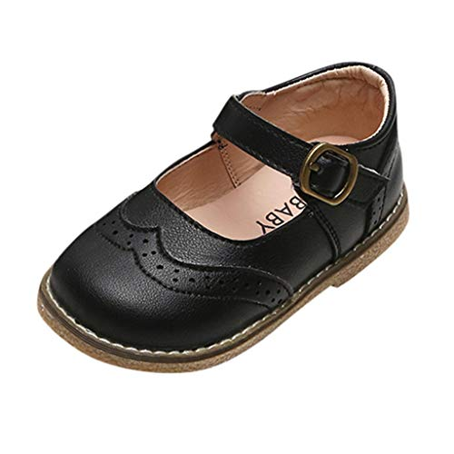 Neugeborenen Kleinkind Baby Mädchen Erste Wanderschuhe Bowknot Leder Closed Toe Loafer Wohnungen Blume Mary Jane Weiche Sohle Rutschfeste Sommer Prinzessin Party Sandalen H217 (Black,4.5-5Years)