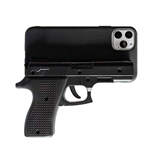 Luxury 3D interesting Gun Phone Cases for iphone 11 Pro Max X XS Max XR 7 8 plus Soft Silicone pistol Toy Phone Back Cover-Black-for iPhone 8 plus