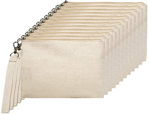 "Large Canvas Wristlet with Zipper, Multipurpose Cosmetic Bag, Travel Toiletries Bag, Pencil Case, Party Favors, Canvas Wristlet, 9"" x 6"", 100% Cotton Canvas - Pack of 12 (Natural)"