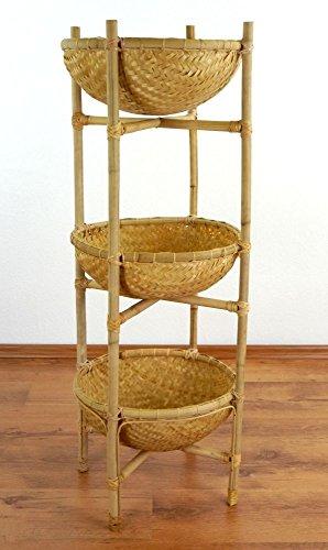 livasia Bambusregal mit Körben, Obstkorb und Gemüsekorb, Aufbewahrungskörbe, Badezimmerregal (34x34x100cm)