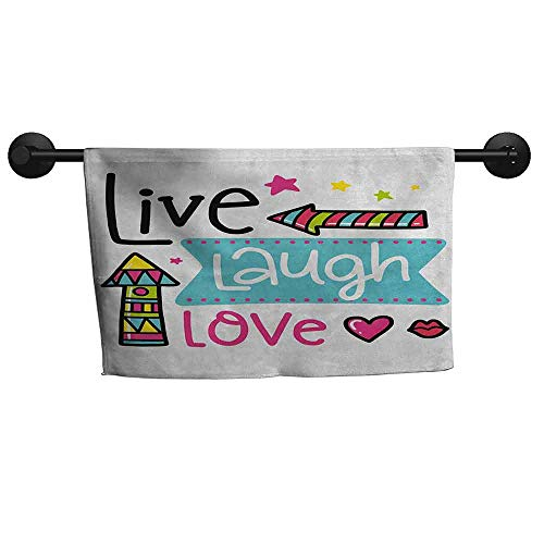 xixiBO Wholesale Towel W 39 x L 16(inch) a lot of Towels,Live Laugh Love,Lively Colors Cartoon Arrows with Geometric Shapes Kiss Hearts Phrase Print,Multicolor