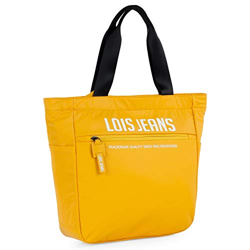 Lois - Bolso Unisex de Mano/Hombro. con Bolsillo Frontal con Cierre Cremallera Invisible, Dos Compartimentos Laterales auxiliares 307081, Color Amarillo