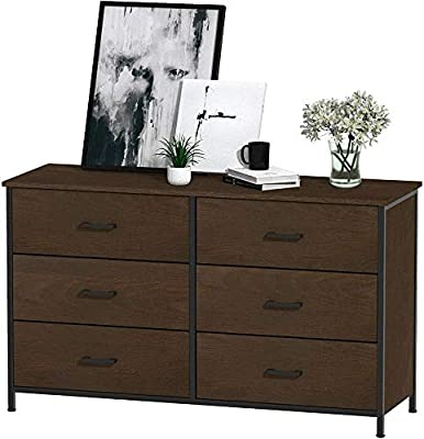 Hasuit 6 Drawer Double Dresser, Accent Storage Tower Clothes Organizer, Sturdy Wood Frame, Large Storage Cabinet for Bedroom, Hallway, Entryway (Oak)