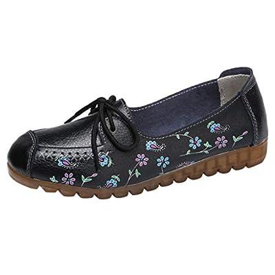 JUSTWIN Summer Nurse Shoes Women's Low-Top Flat Platform Shoes Flower Printed Casual Shoes Nurse Shoes