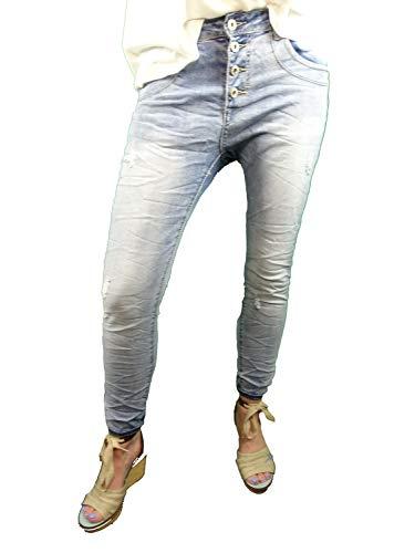 Place du Jour dames Stretch Jeans Summer Pants Used Denim open knoopsluiting