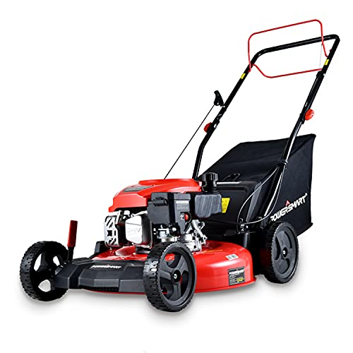 PowerSmart Lawn Mower, 21-inch & 170CC, Gas Powered Self-propelled Lawn Mower with 4-Stroke Engine, 3-in-1 Gas Mower in Color Red/Black, 5 Adjustable Heights (1.2''-3.0'' ), DB2194SR-AM