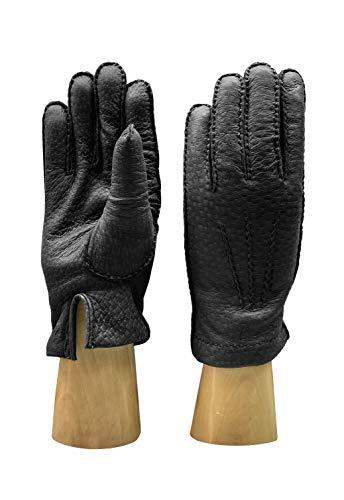 PARISI GLOVES - Herren Handschuhe aus Peccary mit Cashmere Futter - P100 (Schwarz, 8.5)