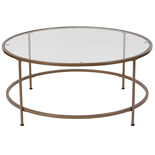 """Flash Furniture Glass Coffee Table, 35.25""""W x 35.25""""D x 15.25""""H, Clear/Matte Gold"""