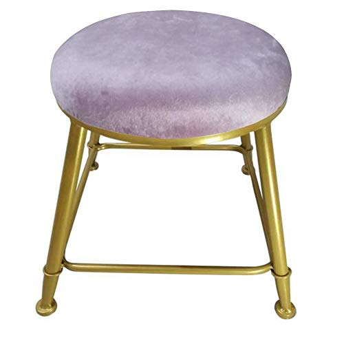 YCSD Compact Small Round Foot Stool with Stainless Steel Base, Fabric Upholstered Ottoman Stool,Sofa Coffee Table Stool for Living Room(Color:Pink)