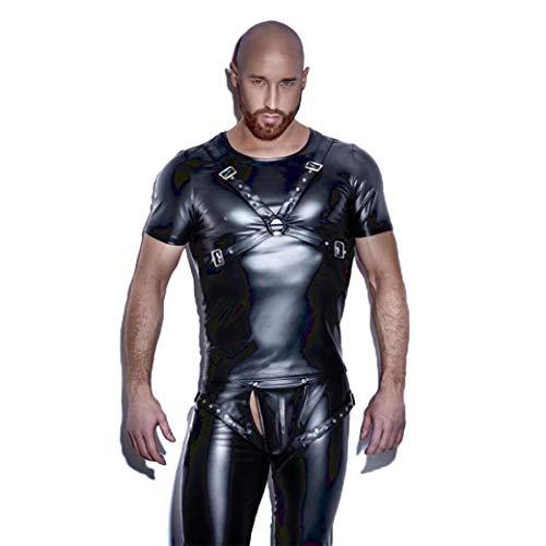 CoolTing Hombres de Cuero Camisetas Sexy Fitness Tops Gay T-Shirt Tees para Hombre T-Shirt O-Cuello Sexy Hombres Ropa Casual S-XXL,Black,XXL