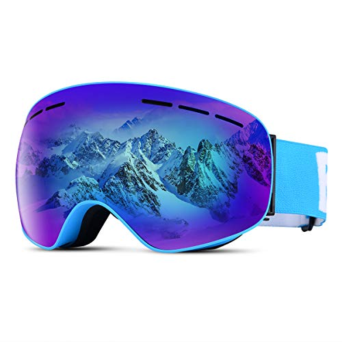 Tyhbelle Skibrille für Damen und Herren Ski Snowboardbrille Schneebrille mit Anti-Nebel UV-Schutz Winter Schnee Sport Snowboard Schutz (Blau Rahmen/Blau Linse(VLT 18.4%))