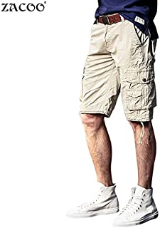 Ocamo Men's Europe and America Casual Short Overalls Pure Cotton Straight Half Pant
