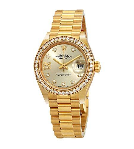 Rolex Lady Datejust Silver Diamond Dial 18 Carat Yellow Gold President Watch 279138SRDP