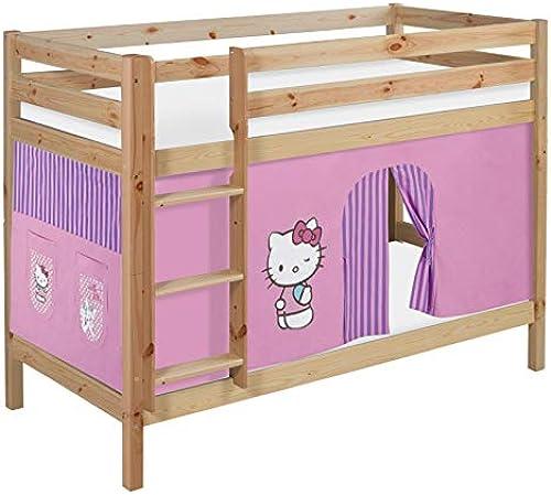 Lilokids Etagenbett JELLE TüV & GS geprüft Hello Kitty Lila - Spielbett Natur - mit Vorhang und Lattenroste