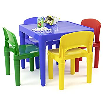 Humble Crew Blue Primary Kids Lightweight Plastic Table & 4 Chairs Set Square