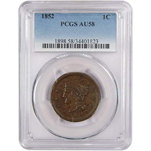 1852 Braided Hair Large Cent AU 58 PCGS Copper Penny 1c US Type Coin Collectible