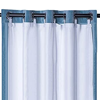 Rose Home Fashion Thermal Insulated Blackout Curtain Liner White Panel-Ring Included- Thermal Liner for Curtains/Drapes,Curtain Liner 100% Darkening,Blackout Liner for 84 Inch Curtains 50 x80 -Ring