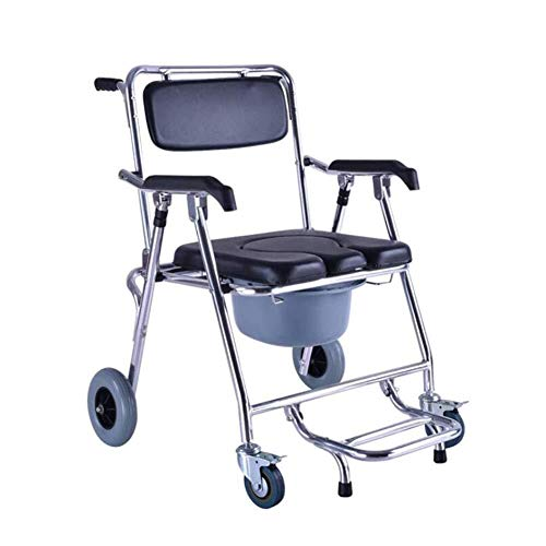 RRH-Bathroom Wheelchairs Bedside Commodes Wheelchairs Shower Chair with Wheels for Handicapped and Seniors Commode Chair and Padded Toilet Seat Shower Transport Chair Shower Wheelchair Bath Toilet Bat