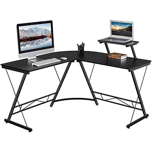 Yaheetech Computertisch Eckschreibtisch in L-Form Arbeitstisch Bürotisch PC Gaming Tisch mit Holz-Monitorständer 130 x 130 x 96,5 cm Schwarz