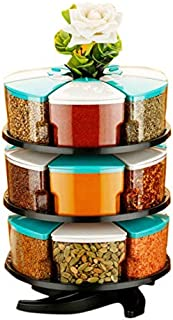 Furious 360° Spice Rack Set of 18 Piece 3 Layer Spice Set -Plastic (White and Blue-18)