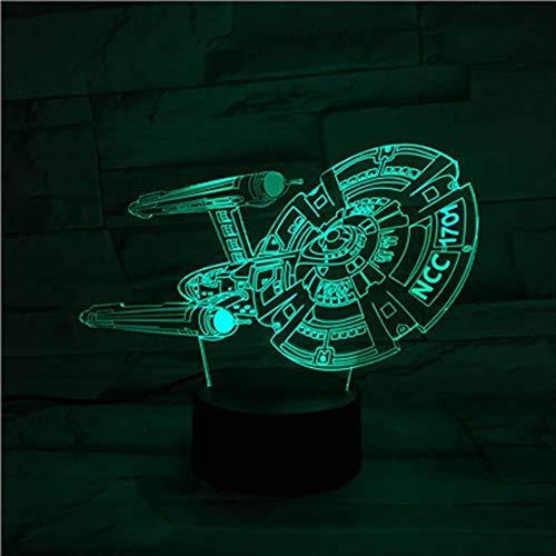zhkn Creativo Luz De Noche Digital Reloj Despertador Base Star Trek Patrón 3D 7 Cambio De Color USB Y Batería Lámpara De Mesa De Control Táctil para Decoración