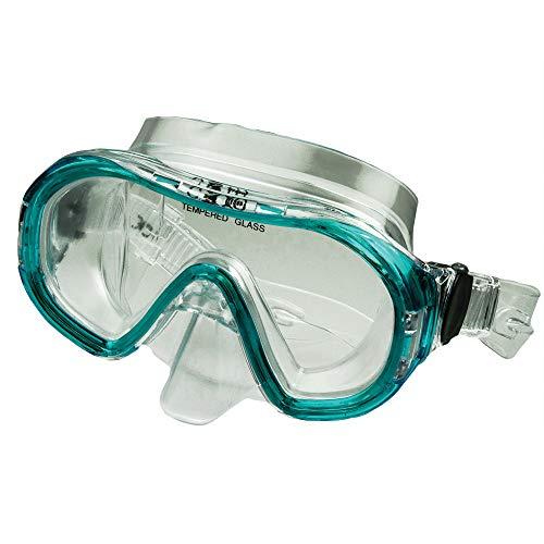 Maschera subacquea professionale per ragazzi/donna Calipso, maschera sub con facciale in PVC, maschera per sub con lenti in vetro temperato e sistema blocco cinturino automatico, pack in box plastica