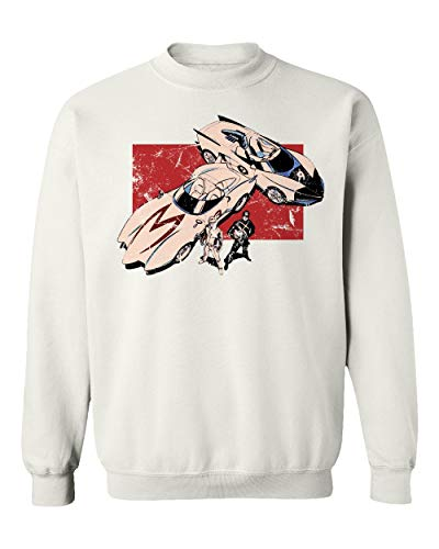 RIVEBELLA New Graphic Shirt Anime Racer X Speed Manga Sweater Unisex Crewneck Sweatshirt (White, XXX-Large)