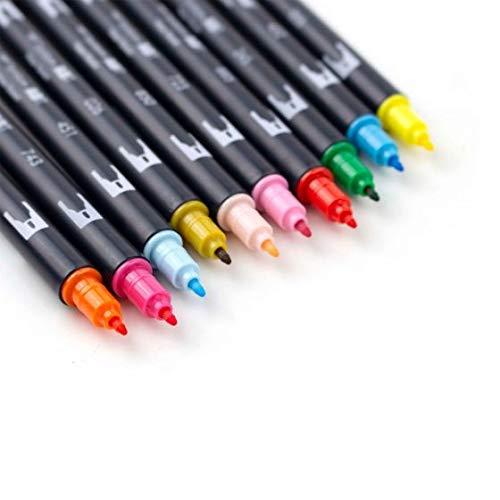 Tombow – 56215 Marcadores artísticos de doble pincel, celebración, paquete de 10 Mezclable, pincel y marcadores de punta…
