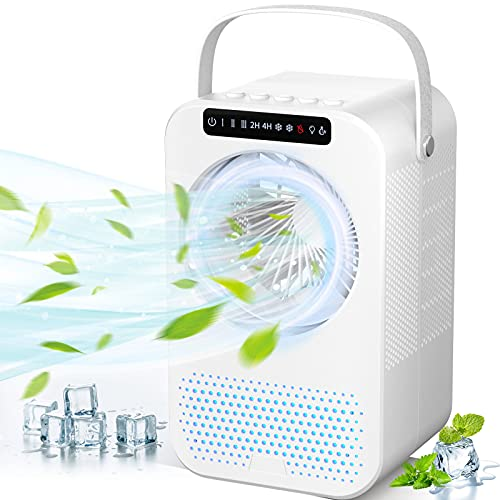 Personal Air Cooler, Portable Air Conditioner Fan, Evaporative Mini Cooler Desk Fans with 600ML Water Tank and 3 Wind Speeds, Cooling Mist Humidifier with 8 Colors Night Light for Room/Office/Dorm/Bedroom