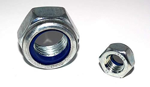 Sechskantmuttern DIN 985 Feingewinde 50 Stück M12x1,5 mit Klemmteil Stahl verzinkt Klemmmutter Sicherungsmutter Stopmutter