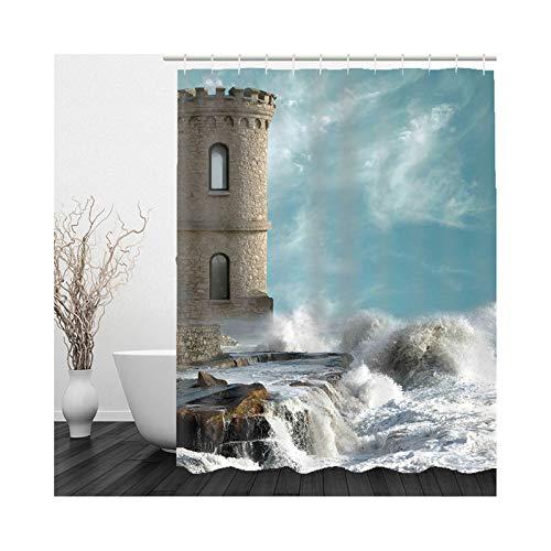 KnSam Duschvorhang, Aussichtsposten Ozean Badezimmer Dekoration Wand Polyester Badezimmer Dekoration Zum Hängen Badezimmer Deko Hängend Duschvorhänge 59X79Inch