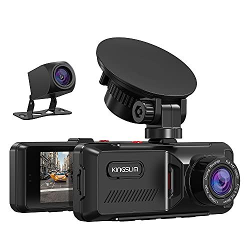 KINGSLIM D1 Dashcam Voiture avec GPS, Caméra Voiture Embarquée 1080P Avant et Arrière, 170°Grand Angle, Caméra de Bord Écran IPS 3,16 Pouces, Capteur-G, WDR,Détection de Mouvement, Carte 32Go...