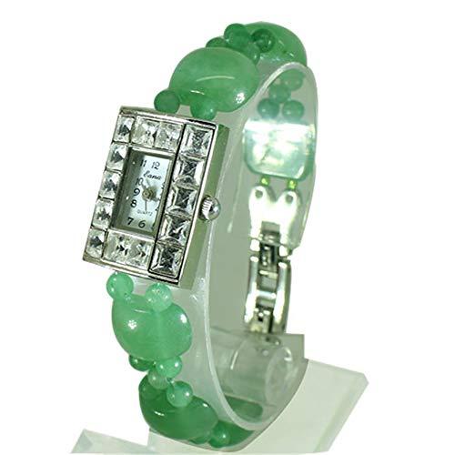 CWYPB Naturische Bernstein-Stall-Armband-Uhr, Damen-Kristall-Uhr Damen Edelstein-Perlen Uhren für den Weihnachtsgeburtstag Valentinstag Halloween Neujahrsgeschenk,Green
