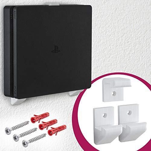Wand Halterung Konsolen Halter Wall Mount Weiß für Sony PlayStation 4 PS4 Slim