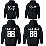 King & Queen Custom Couple Hoodie Customized for him and her Personalized Matching Couples