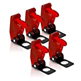 MGI SpeedWare Safety Flip Covers for Toggle Bat-Handle Switch 5-Pack (Red)